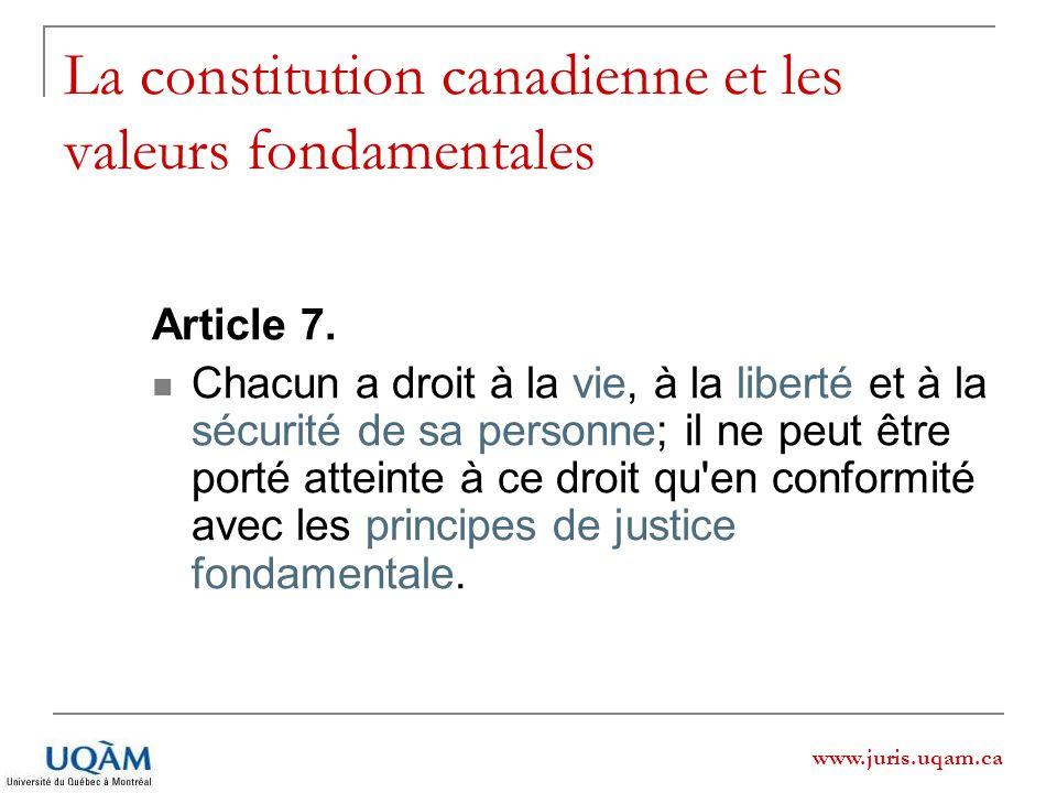 La constitution canadienne et les valeurs fondamentales