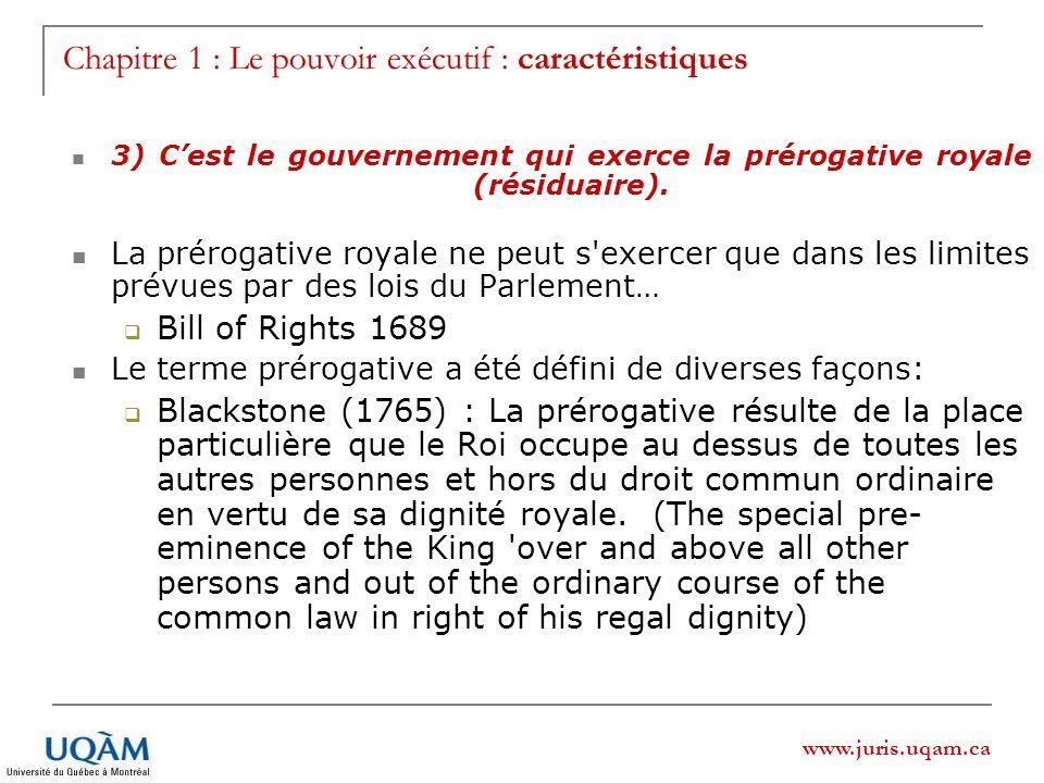 Chapitre 1 : Le pouvoir exécutif : caractéristiques
