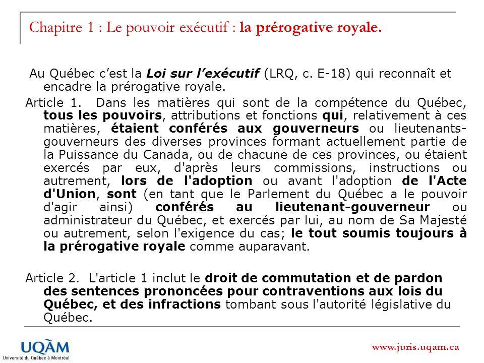 Chapitre 1 : Le pouvoir exécutif : la prérogative royale.