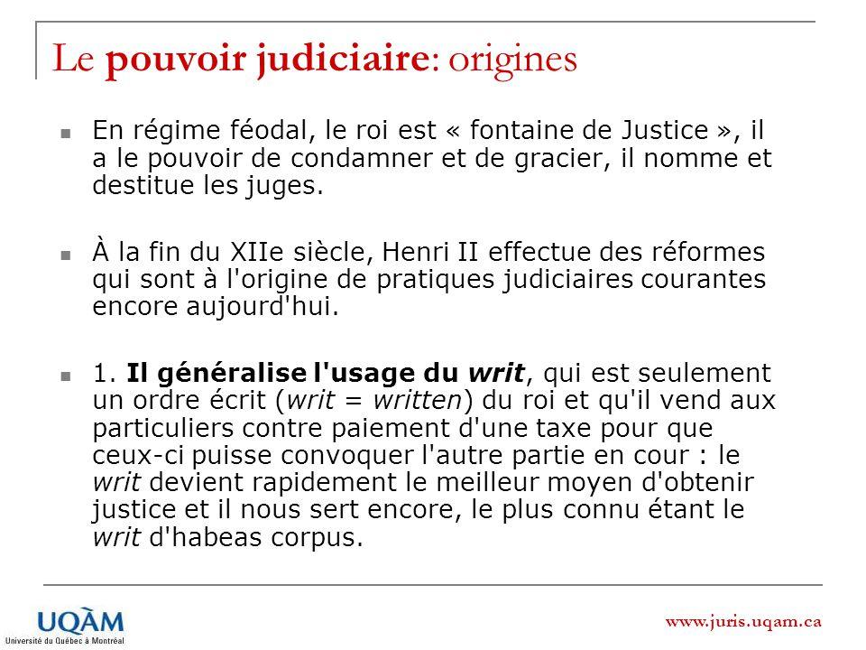 Le pouvoir judiciaire: origines