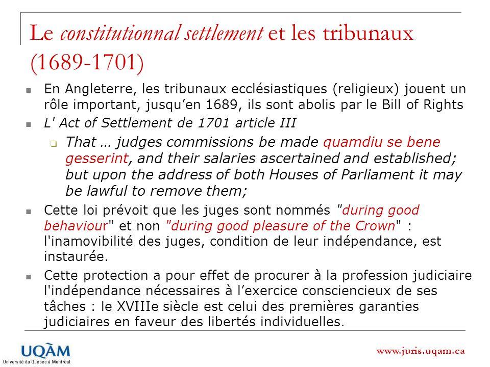 Le constitutionnal settlement et les tribunaux (1689-1701)