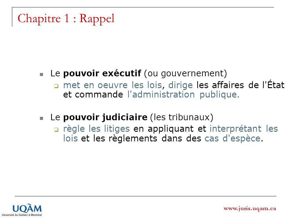 Chapitre 1 : Rappel Le pouvoir exécutif (ou gouvernement)