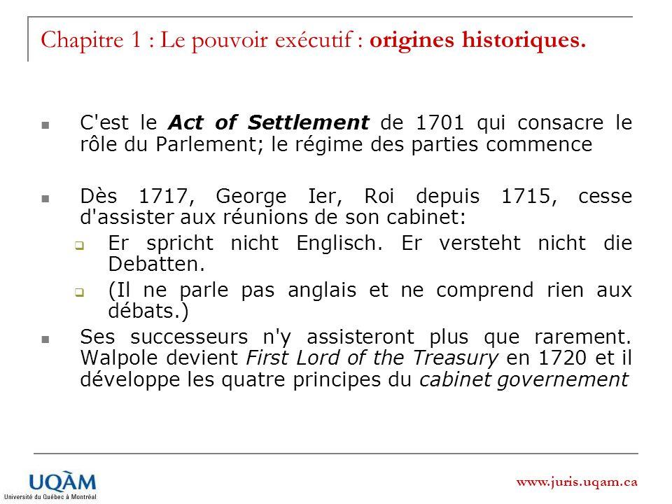 Chapitre 1 : Le pouvoir exécutif : origines historiques.