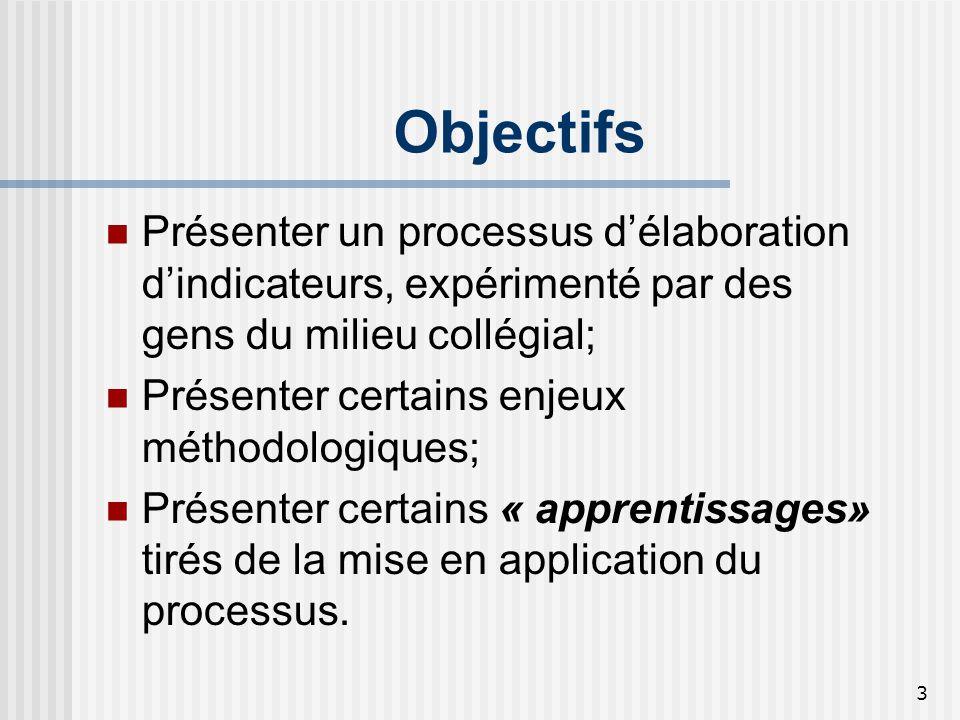 Objectifs Présenter un processus d'élaboration d'indicateurs, expérimenté par des gens du milieu collégial;