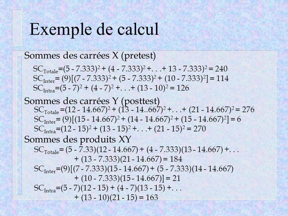Exemple de calcul Sommes des carrées X (pretest)