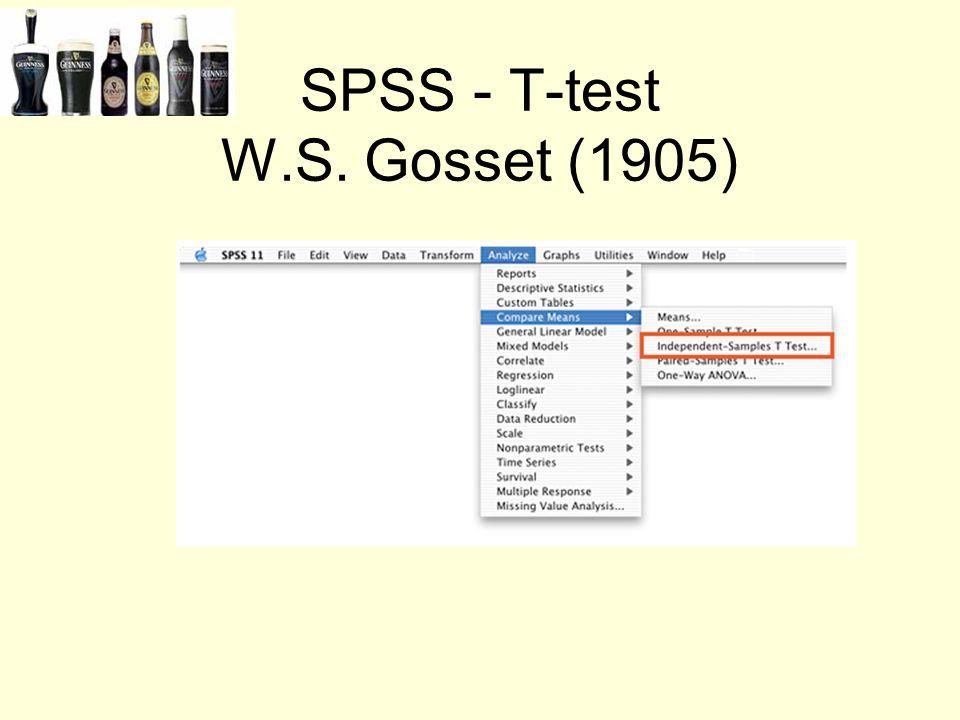 SPSS - T-test W.S. Gosset (1905)
