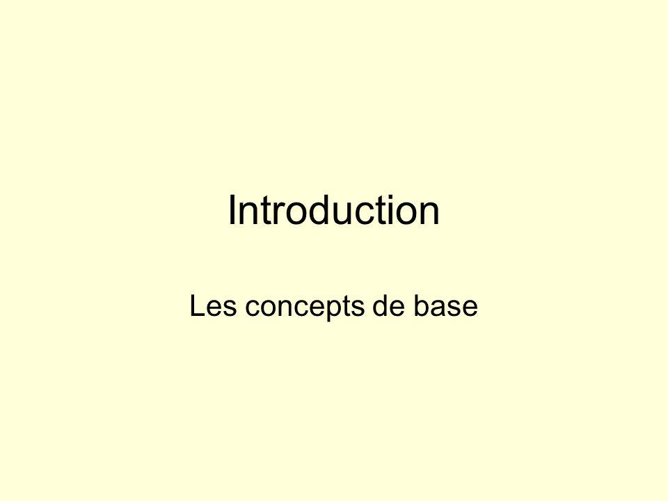 Introduction Les concepts de base