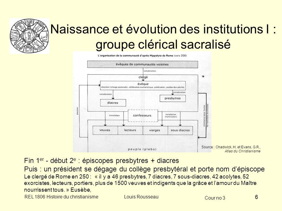 Naissance et évolution des institutions I : groupe clérical sacralisé