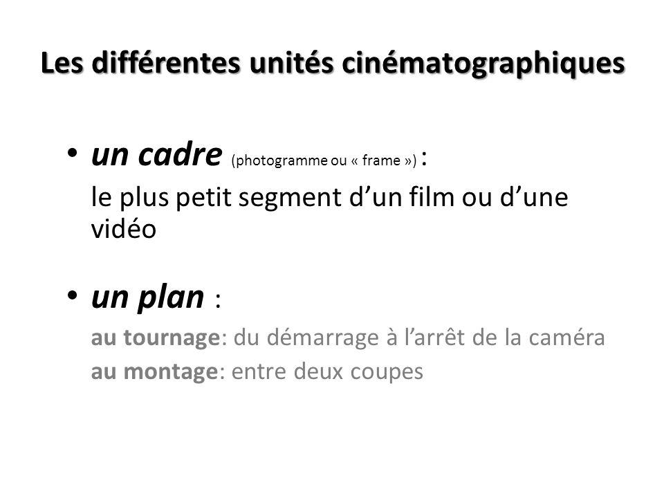 Les différentes unités cinématographiques