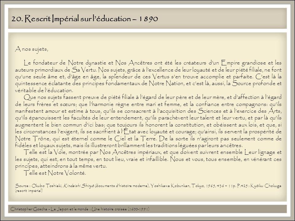 20. Rescrit Impérial sur l'éducation – 1890