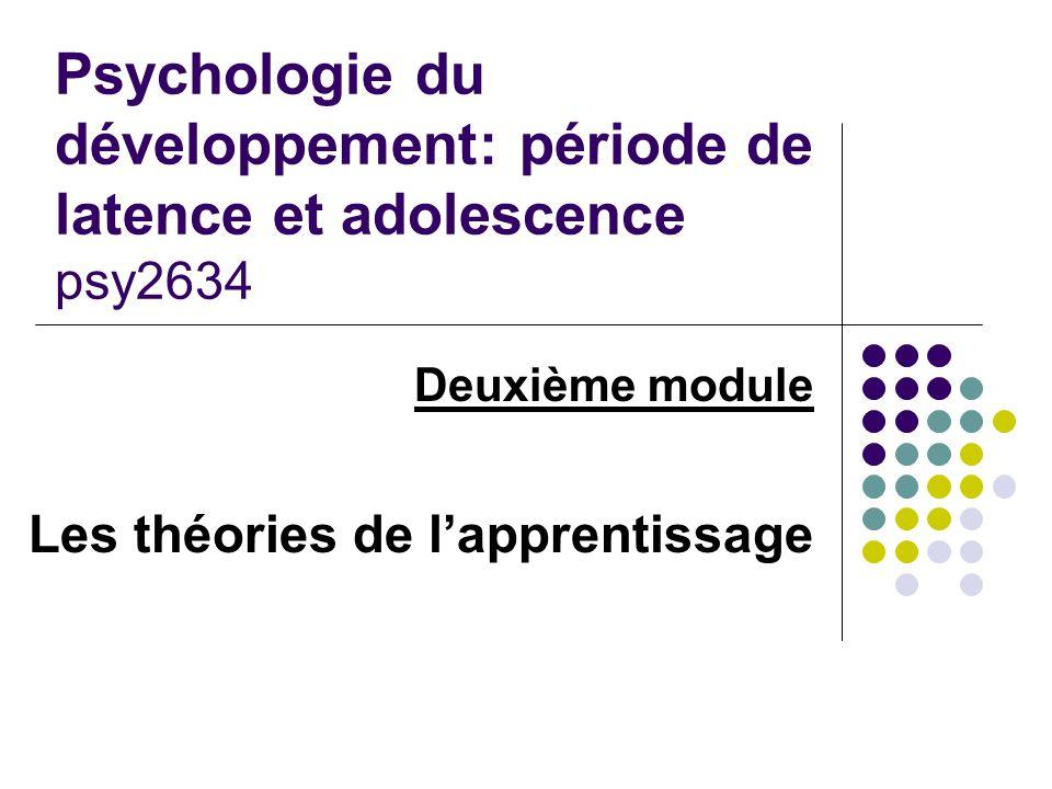 Deuxième module Les théories de l'apprentissage