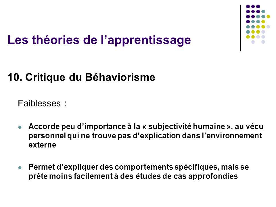 Les théories de l'apprentissage