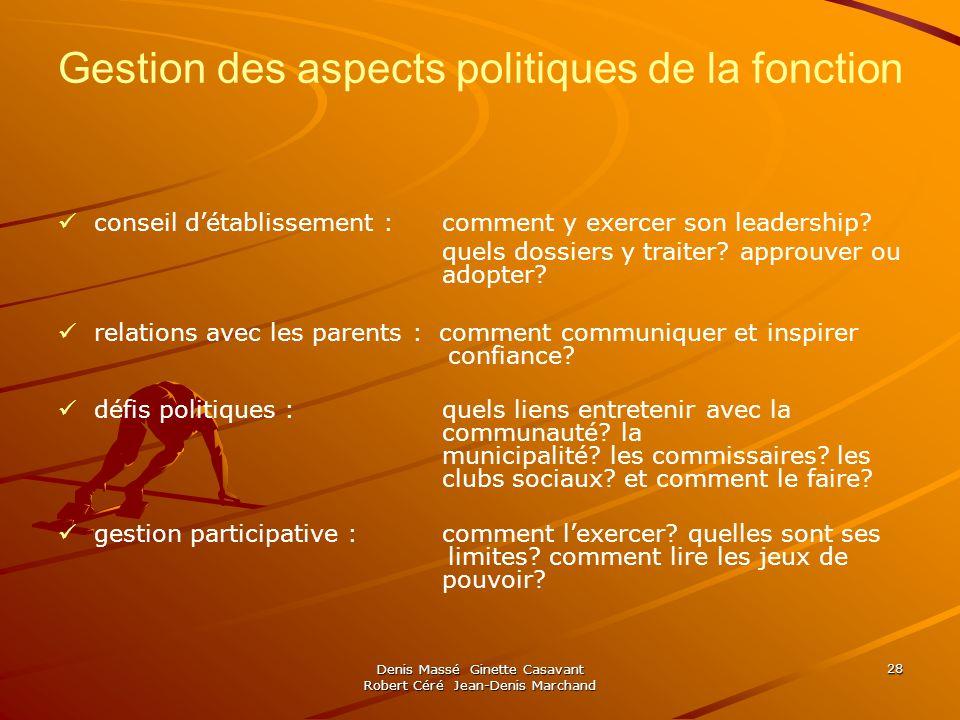 Gestion des aspects politiques de la fonction