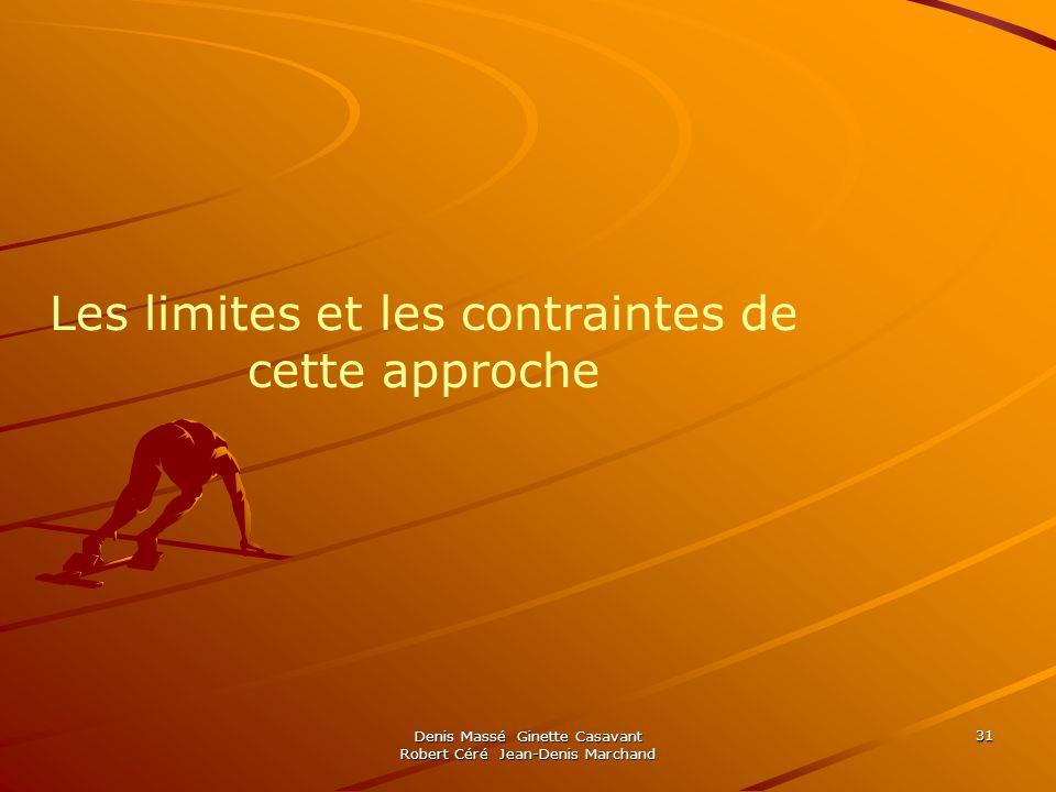 Les limites et les contraintes de cette approche