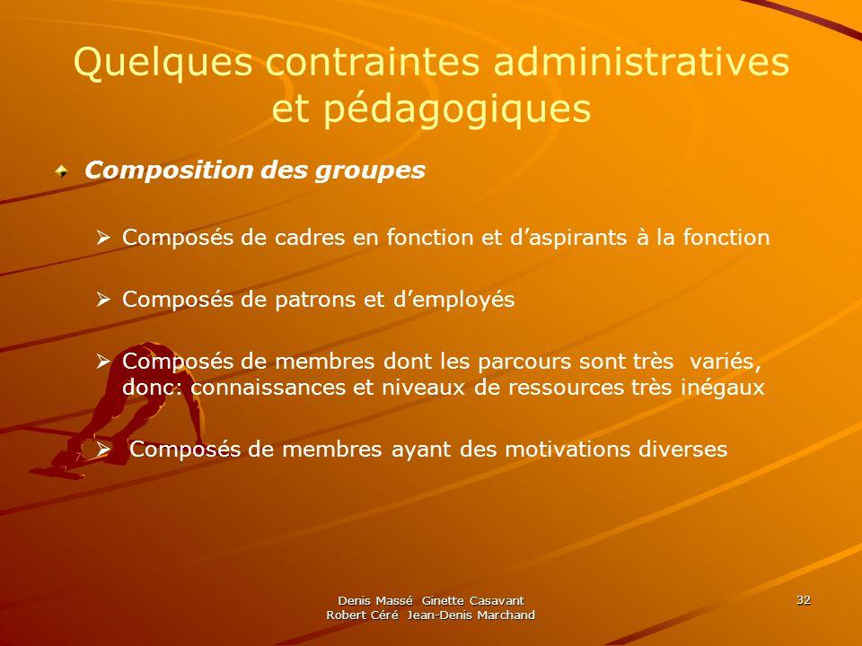 Quelques contraintes administratives et pédagogiques