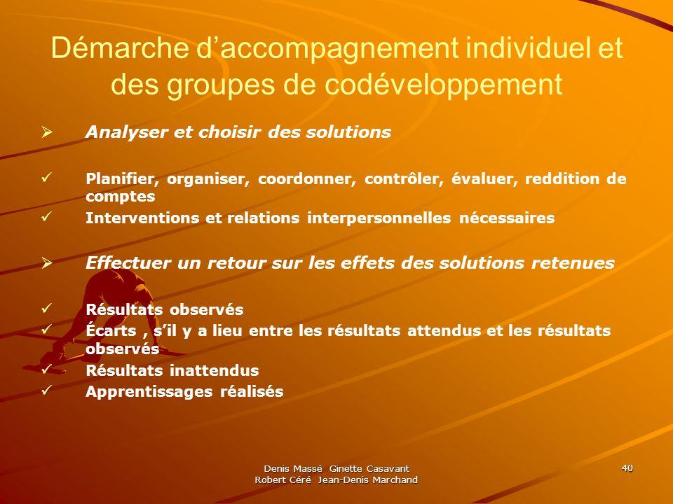 Démarche d'accompagnement individuel et des groupes de codéveloppement