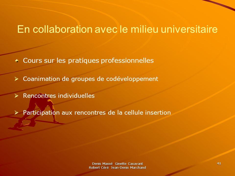 En collaboration avec le milieu universitaire