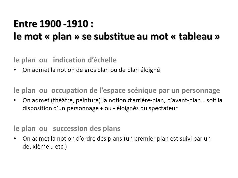 Entre 1900 -1910 : le mot « plan » se substitue au mot « tableau »