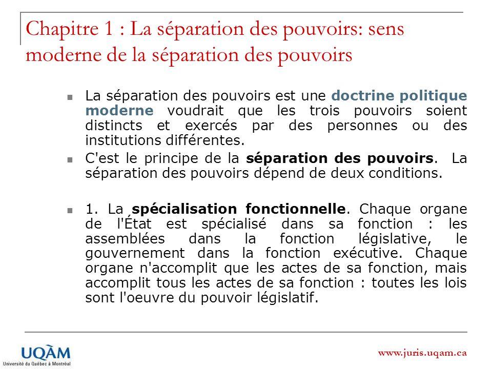 Chapitre 1 : La séparation des pouvoirs: sens moderne de la séparation des pouvoirs