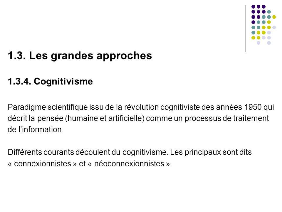 1.3. Les grandes approches 1.3.4. Cognitivisme