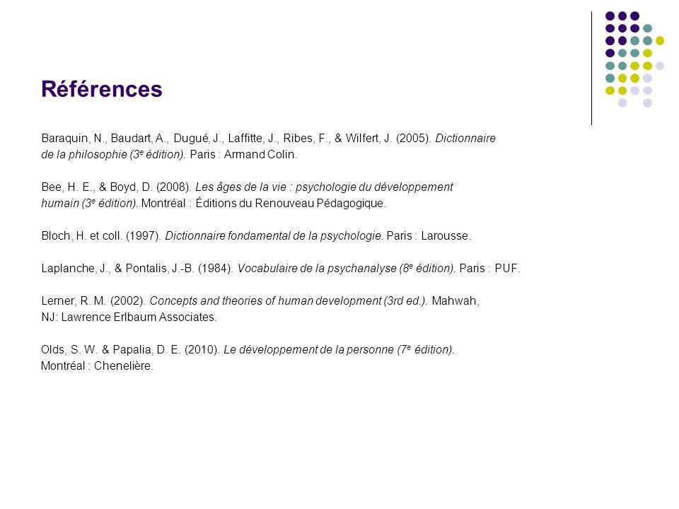 Références Baraquin, N., Baudart, A., Dugué, J., Laffitte, J., Ribes, F., & Wilfert, J. (2005). Dictionnaire.