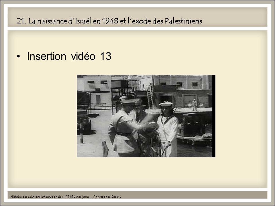 21. La naissance d'Israël en 1948 et l'exode des Palestiniens