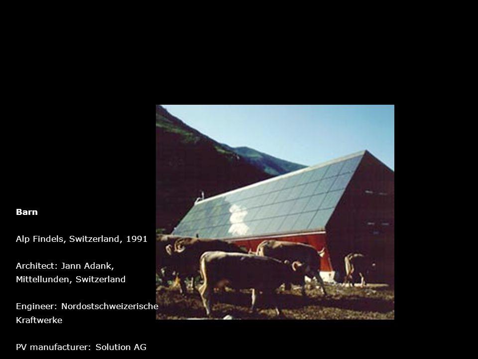 Barn Alp Findels, Switzerland, 1991. Architect: Jann Adank, Mittellunden, Switzerland. Engineer: Nordostschweizerische.