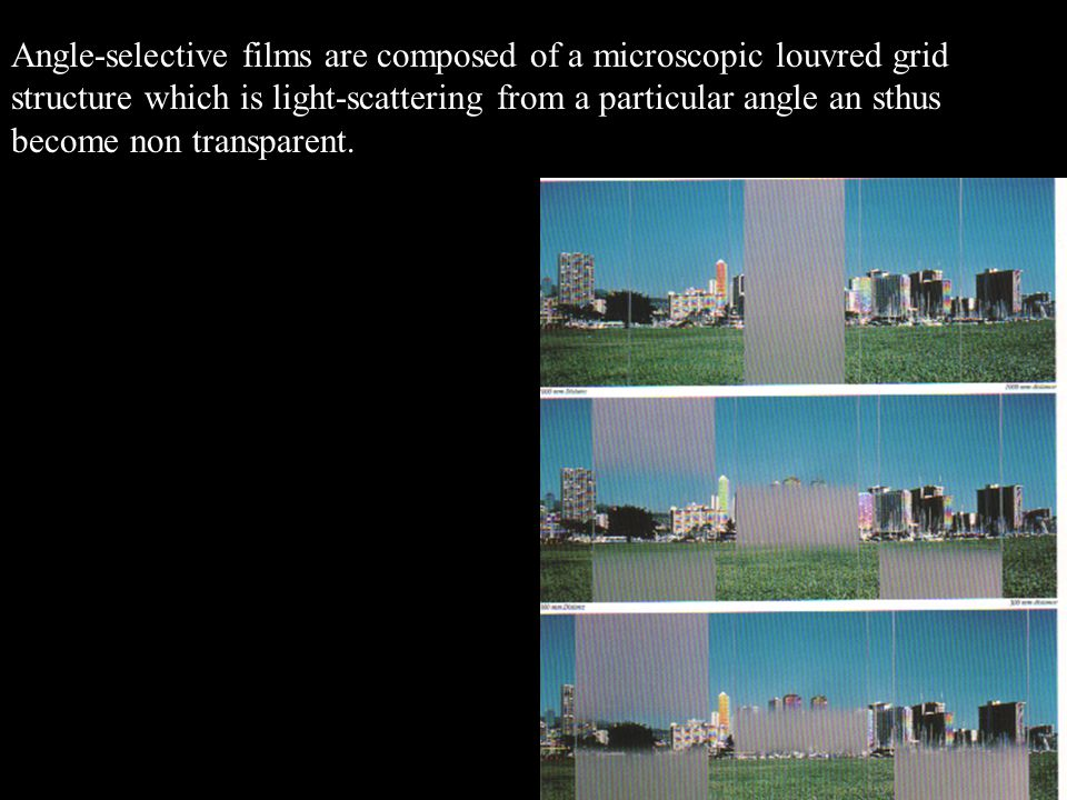 Angle-selective films are composed of a microscopic louvred grid structure which is light-scattering from a particular angle an sthus become non transparent.