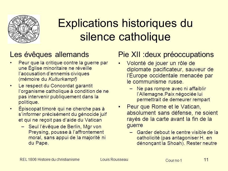 Explications historiques du silence catholique