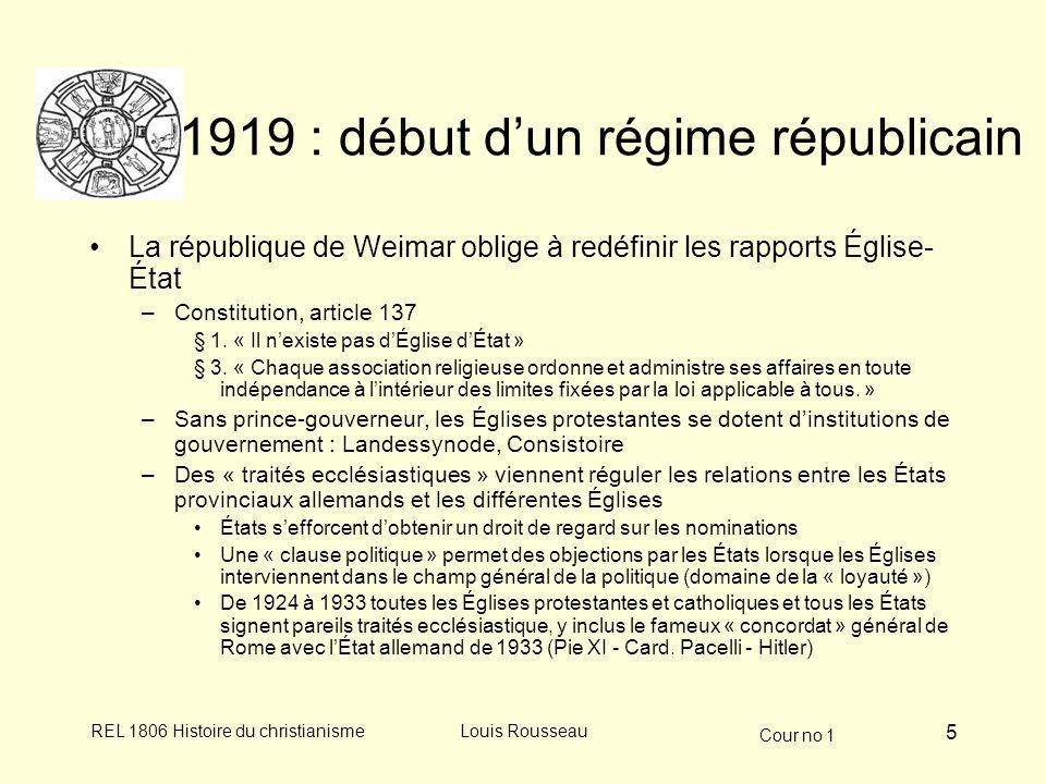 1919 : début d'un régime républicain
