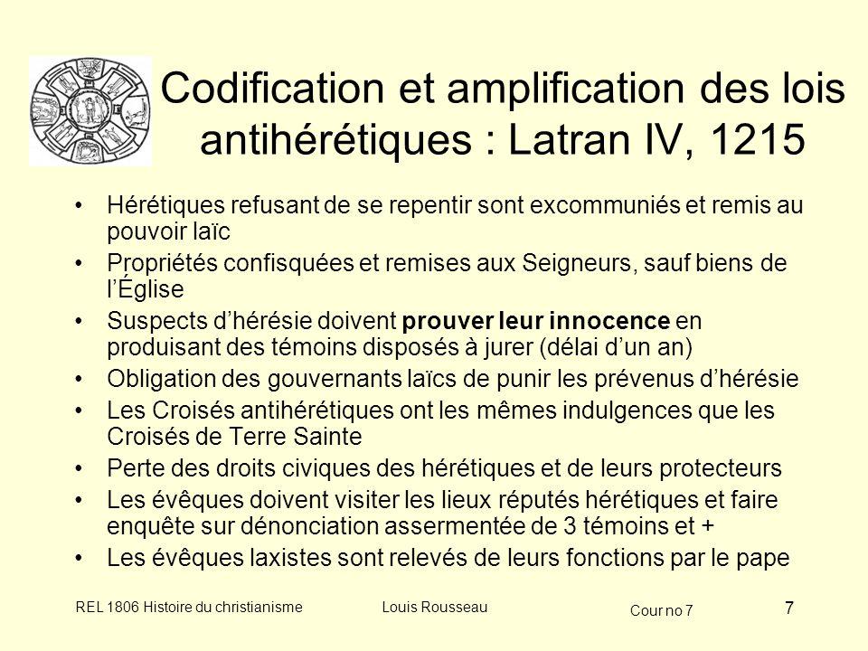 Codification et amplification des lois antihérétiques : Latran IV, 1215