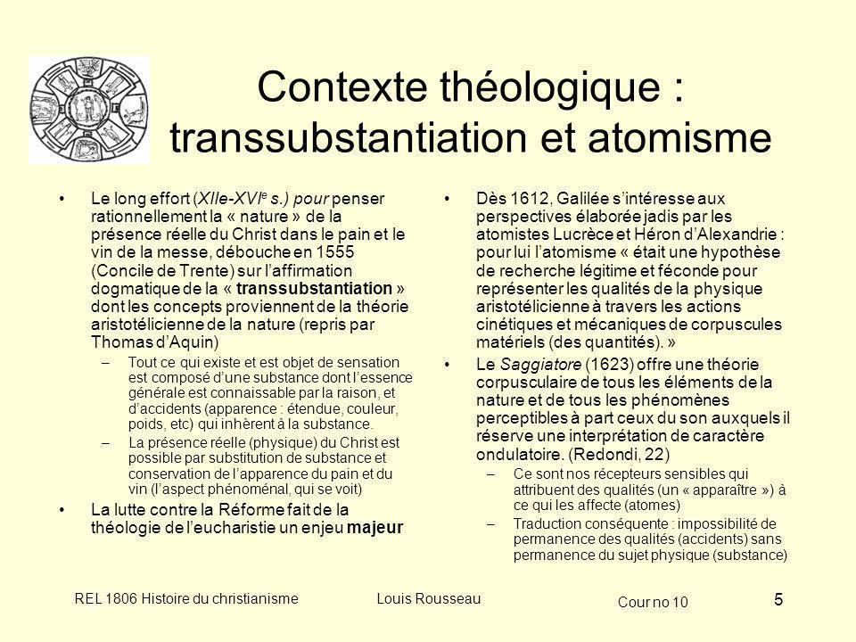 Contexte théologique : transsubstantiation et atomisme