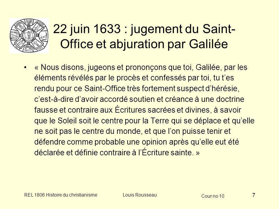 22 juin 1633 : jugement du Saint-Office et abjuration par Galilée