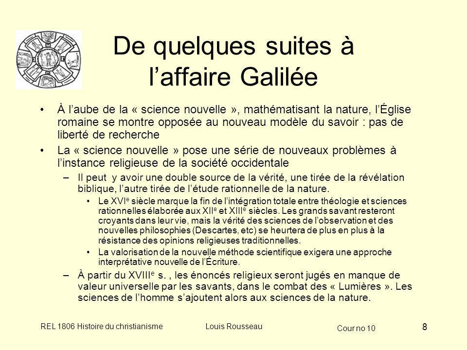 De quelques suites à l'affaire Galilée