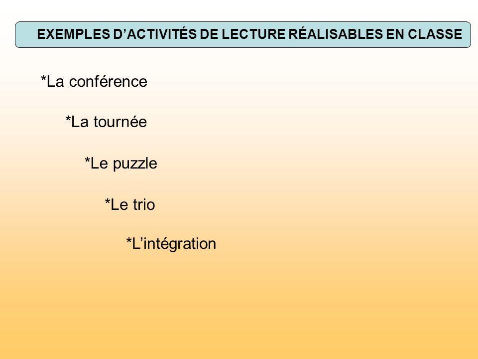 EXEMPLES D'ACTIVITÉS DE LECTURE RÉALISABLES EN CLASSE