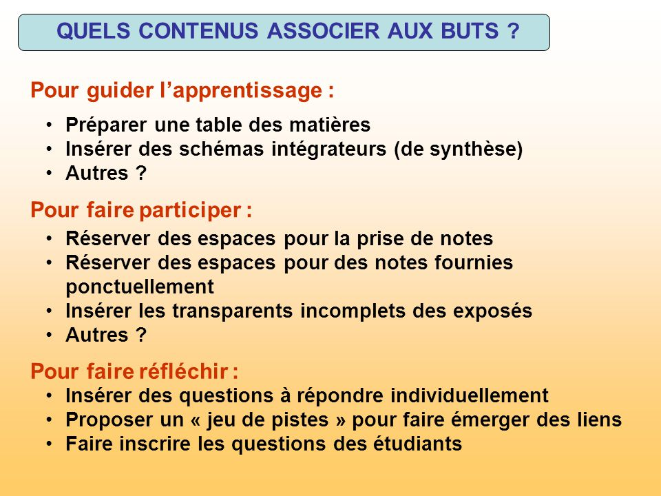 QUELS CONTENUS ASSOCIER AUX BUTS