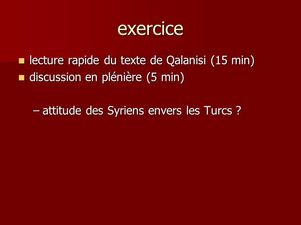exercice lecture rapide du texte de Qalanisi (15 min)