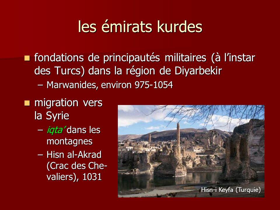 les émirats kurdes fondations de principautés militaires (à l'instar des Turcs) dans la région de Diyarbekir.