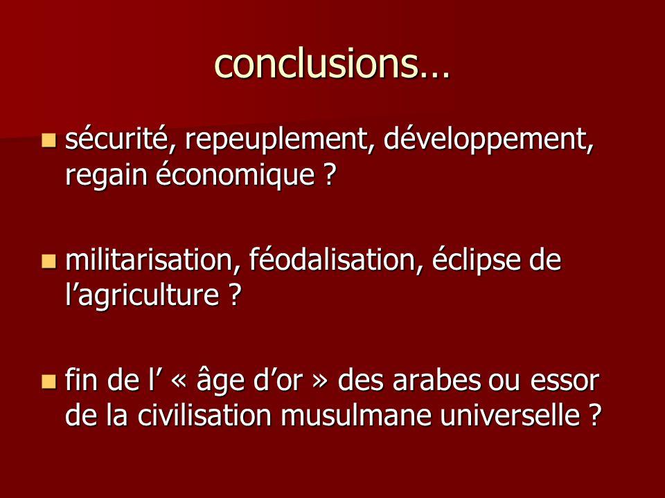 conclusions… sécurité, repeuplement, développement, regain économique militarisation, féodalisation, éclipse de l'agriculture