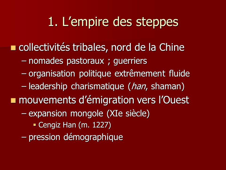 1. L'empire des steppes collectivités tribales, nord de la Chine