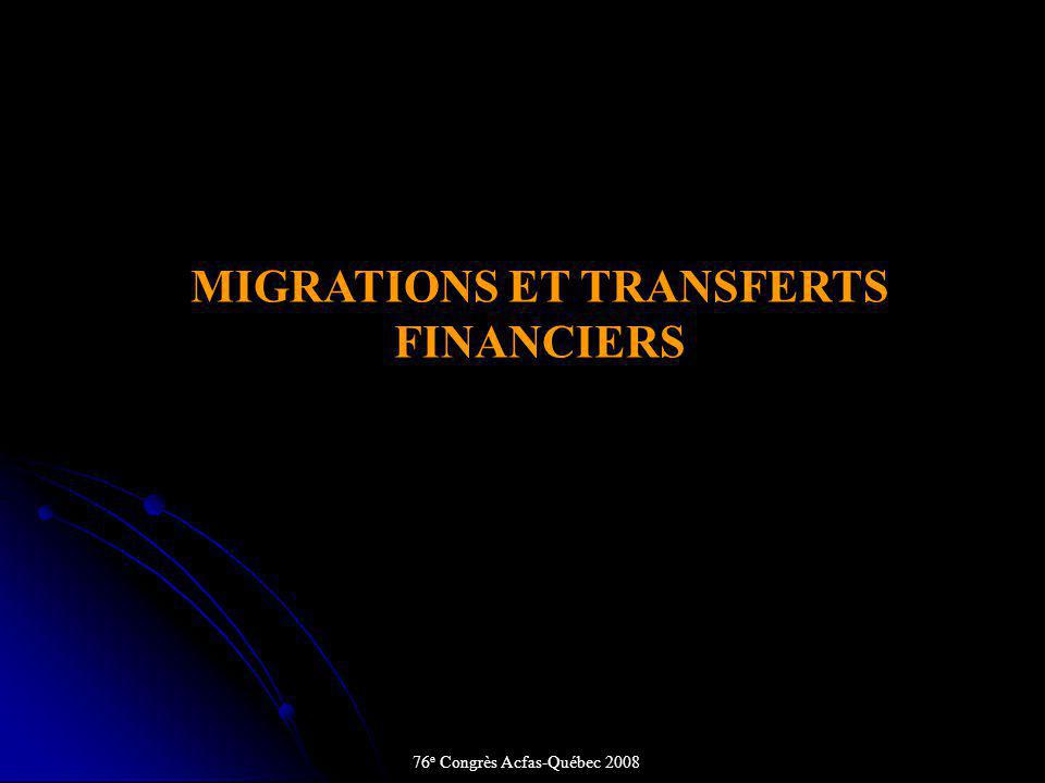 MIGRATIONS ET TRANSFERTS FINANCIERS