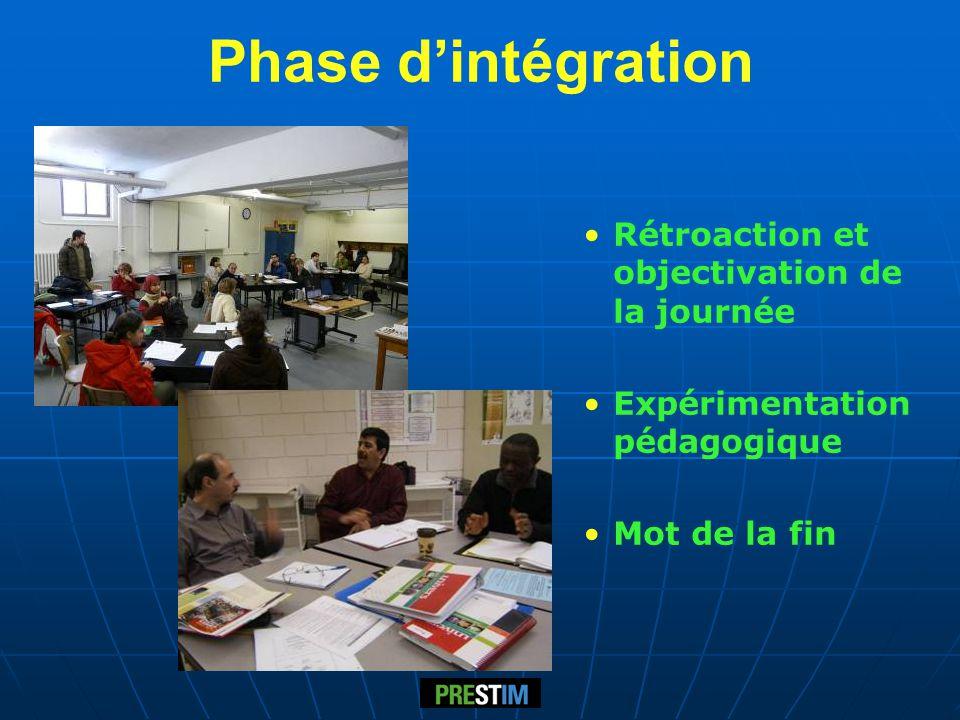 Phase d'intégration Rétroaction et objectivation de la journée