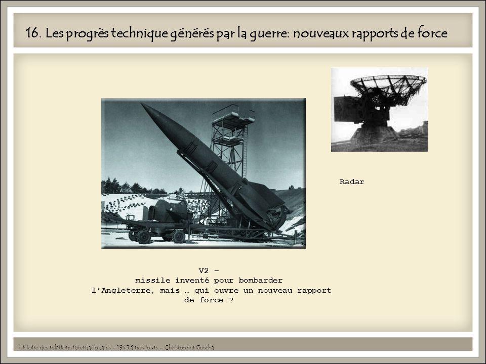 16. Les progrès technique générés par la guerre: nouveaux rapports de force