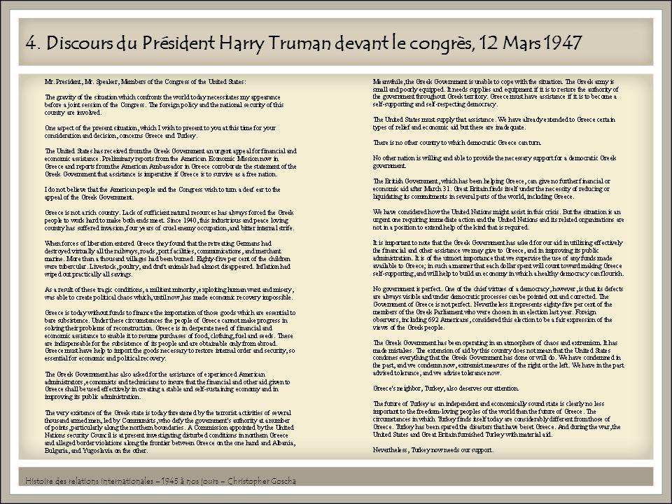 4. Discours du Président Harry Truman devant le congrès, 12 Mars 1947