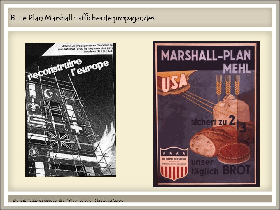 8. Le Plan Marshall : affiches de propagandes