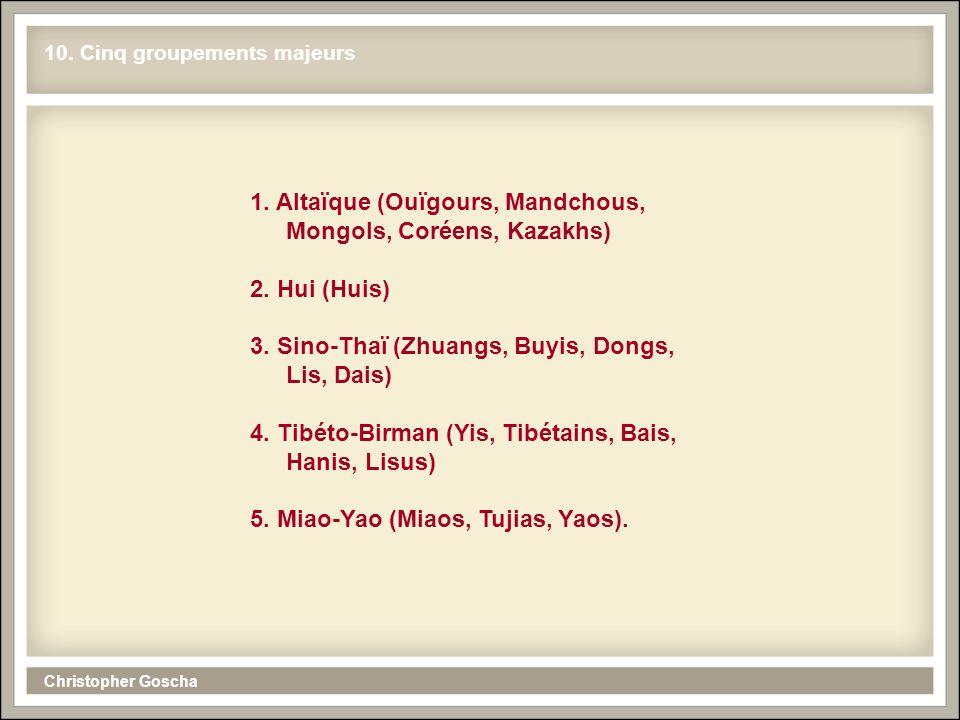 10. Cinq groupements majeurs