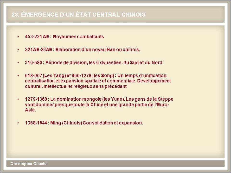 23. ÉMERGENCE D'UN ÉTAT CENTRAL CHINOIS
