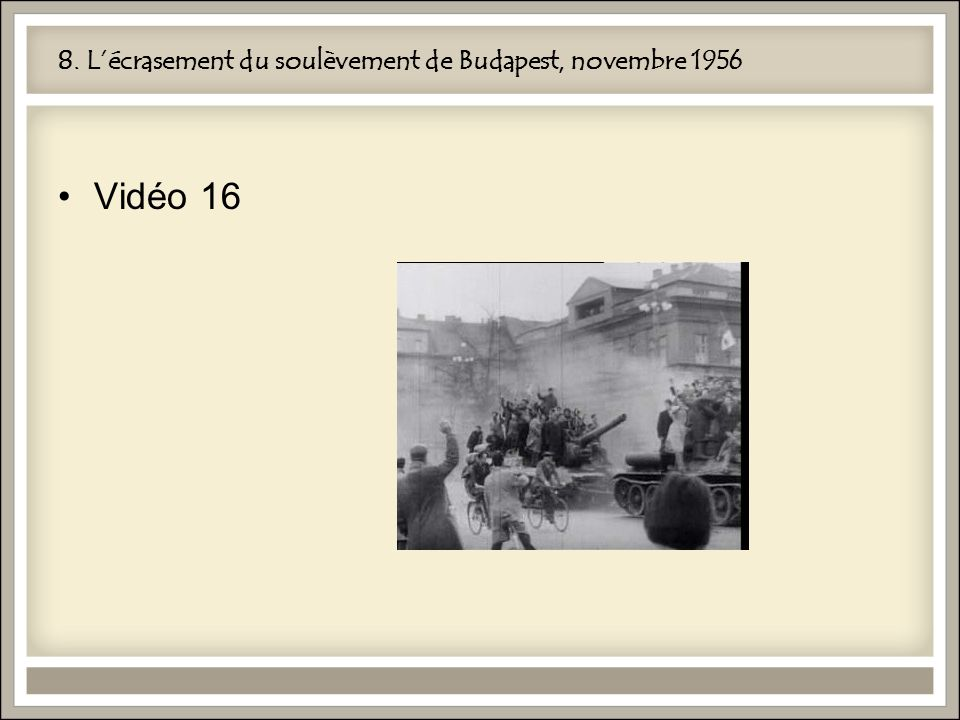 8. L'écrasement du soulèvement de Budapest, novembre 1956