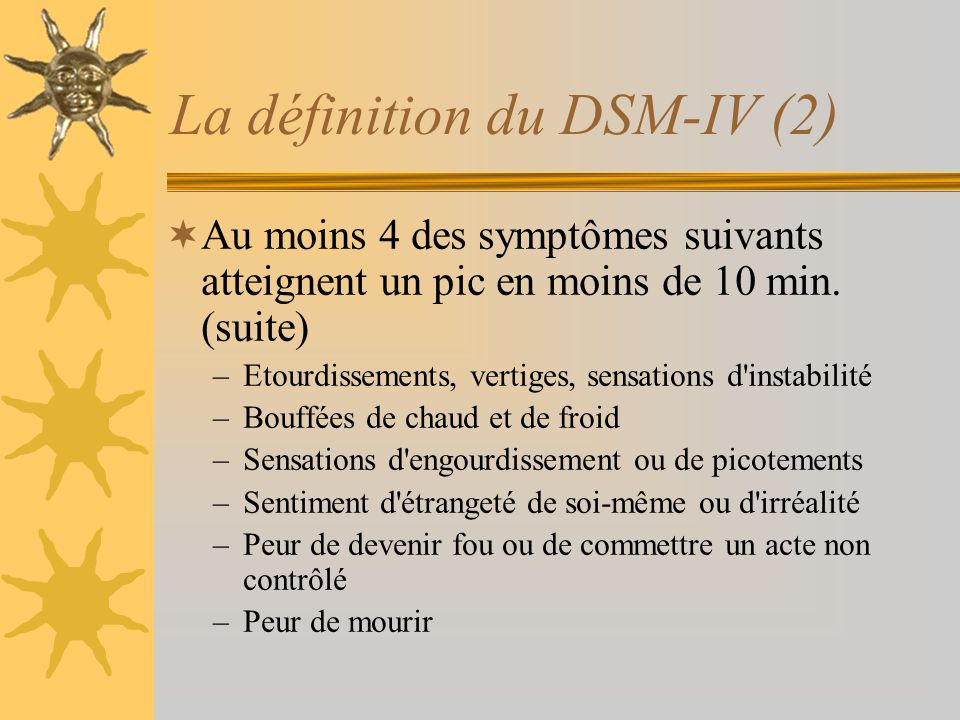 La définition du DSM-IV (2)