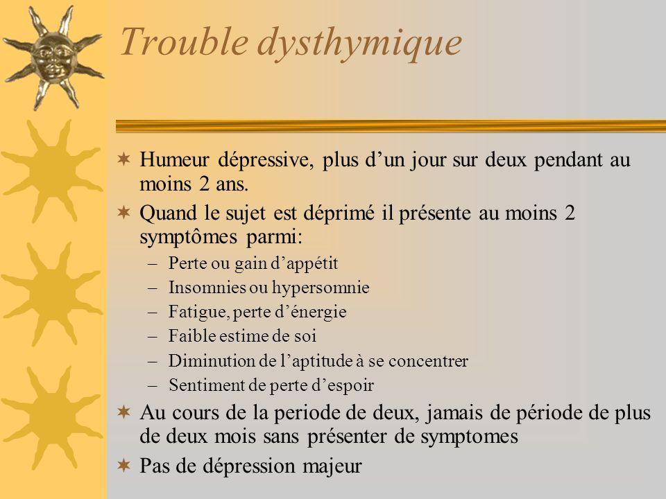Trouble dysthymique Humeur dépressive, plus d'un jour sur deux pendant au moins 2 ans.
